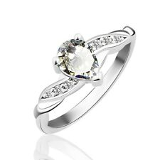 18K white gold filled White Pear Sapphire Solitaire with Accents ring Sz5-Sz9
