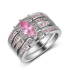 Handmade Marquise Cut Pink Sapphire Cz White Gold Filled Women Wedding Band Ring