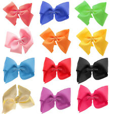 "5"" Big Bow Hair Clip Aligator Clips Satin Ribbon Bow Women Girls Hair Accessory"