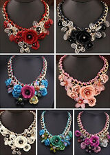 Fashion Crystal Flower Necklace Collar Chunky Pendant Jewelry Statement Choker