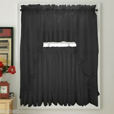 NEW - Stylemaster Elegance Voile BLACK Sheer Curtain