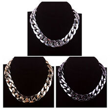 1pcs Chunky CCB Link Chain Choker Thick Curb Chain Statement Bib Necklace #JC