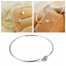 Fashion Women Double Peach Heart Love Gold-Plated Crystal Opening Bracelet #JC