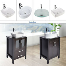 "24"" Bathroom Vanity Top Cabinet Wood Single Vessel Sink Bowl Faucet Mirror Set"