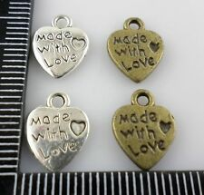 "60/500pcs Tibetan silver/Bronze Heart ""made with love"" Charms Pendants"