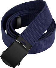 Navy Blue Military Cotton Web Belt with Black Buckle