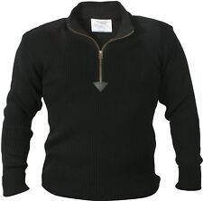 Black Acryllic Commando Military Style Sweater with Quarter Zip