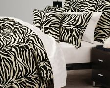 LOGAN & MASON Zambia Black Beige ZEBRA Linen look Double Quilt Cover Pillowcases