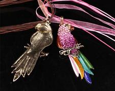 Parrot Animal Colorful Pendant Necklace Full Sweater Chain Crystal Rhinestone