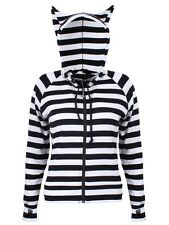Banned Cat Ears Striped Womens Black & White Hoodie