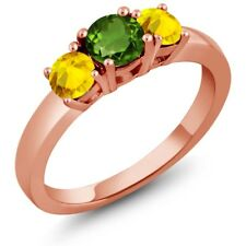 1.22 Ct Round Green Chrome Diopside Yellow Sapphire 14K Rose Gold Ring