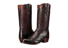 Lucchese N1658 Mens Black Cherry Mad Dog Goat Leather Western Cowboy Boots