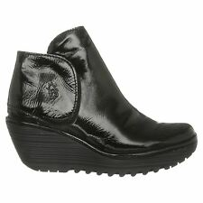 Fly London Yogi Patent Wedge Black Patent Womens Boots