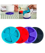 Silicone Wine Coasters Non Spill Lid Mug Cup Drink Placemats Mat (Random Colour)