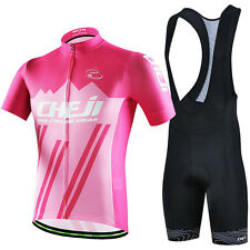 CHEJI Men Cycling Jersey Kit Set Pink High Visibility Bicycle Top & (Bib) Shorts