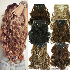 full head clip in real as human hair extensions straight curly wavy 8Piece ssn5