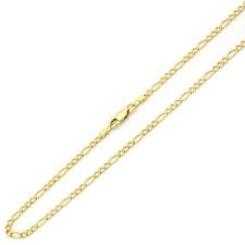 3mm 14K Yellow Gold Chain Figaro Chain Necklace / Gift box / Ship from USA