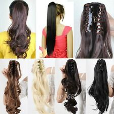 Clip In Ponytail Pony Tail Hair Extension Claw On Hair Piece Curly Straight gd56