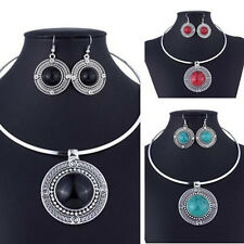 Fashion Jewelry Vintage Turqoise Round Sets Women Sets For Necklace Earrings
