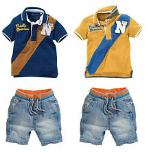 2Pcs Baby Boys Short Sleeve Shirt Tops + Jeans Shorts Kids Summer Casual Outfits