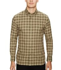 John Varvatos Star USA Men's Roll Up Long Sleeve Olive Plaid Shirt $119 msrp NWT