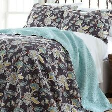 NEW Full Queen King Bed Aqua Blue Gray Floral Reversible 3 pc Quilt Coverlet Set