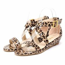 Women Sexy Leopard Leather Sandals Ankle Strap Peep Toe Low Heel Fashion Shoes