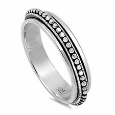 Pure 5mm Sterling Silver 925 Oxidize Spinner Ring Black color band / Gift box