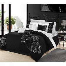 NEW Queen King Bed 8 pc Black White Embroidered Floral Elegant Comforter Set NWT