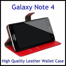High Quality Horse Leather Wallet Case Samsung Galaxy Note 4+Screen Protector