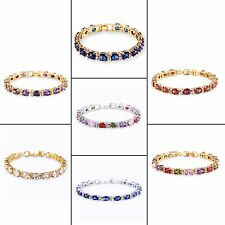 "18k white gold filled Multi-color Oval Sapphire chic wedding bracelet 6.7""12.3g"