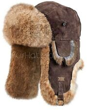 Brown Suede Leather Rabbit Fur Aviator Hat -Brand: FRR