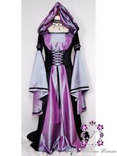 Gothic Renaissance Hooded Vampire Ball Gown Costume Cosplay Dress Purple Black