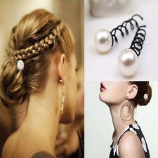 10Pcs Black Metal Twist Hair Pin Grips Spirals Bobby Pins With Pearls