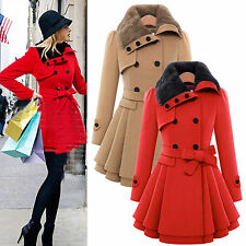 Women Ladies Winter Warm Trench Coat Double Breasted Fur Collar Wool Outwear Top