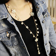 Chic Fashion Women Pearl Flower Sweater Chain Long Pendant Necklace Jewelry New