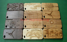 Fashion Carved Design Genuine Real Natural Wooden Bamboo Case for iPhone 4 4S