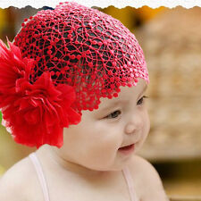 Baby Girl Toddler Flower Lace Headband Hair Band Headwear Beanie Hat HOT