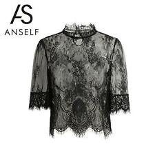 Sexy Women's Ladies Lace Crop Top Clubwear Party Shirt Mesh Tops Party R0R9