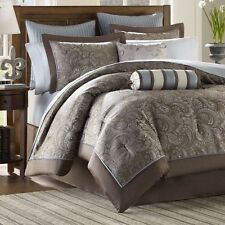 NEW Full Queen Cal King Bed Bag 12 pc Blue Brown Paisley Comforter Sheets Set
