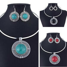 Women Fashion Round Sets Necklace Earrings Vintage Sets For Turqoise Jewelry
