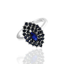 Natural Blue Sapphire 925 Sterling Silver Solitaire W Accent Ring (gr562)