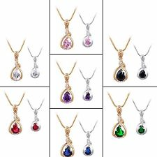 18k white gold filled white Pear Drop Sapphire Wedding lady Pendant chain 18''