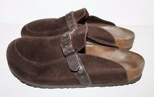 Birkenstock Women's 8 M 39 Brown Eaton Clogs Mules Suede w/ Leather Strap - EUC