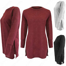 NEW LADIES SIDE SPLIT LONG SLEEVE SOFT FLUFFY JUMPER WOMENS TOP SLIT TUNIC LOOK