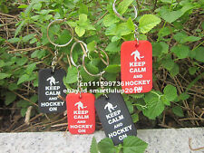 KEEP CALM AND HOCKEY ON Silicone Dog Tag Key Chain Ring