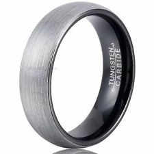 6mm Tungsten Carbide Wedding Band Gray Brushed Black Ring Mens Jewelry Size 7-13