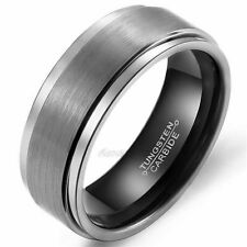 8mm Black Tungsten Carbide Wedding Band Brushed Ring Men's Jewelry Size 7-13