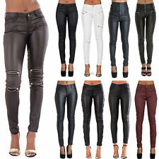 NEW WOMENS SEXY LEATHER WET LOOK JEANS LADIES BLACK TROUSERS SLIM FIT SIZE 6-22