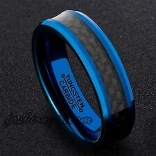 Mens 6mm Tungsten Carbide Ring Wedding Band Blue Plated Black Carbon Fiber Inlay